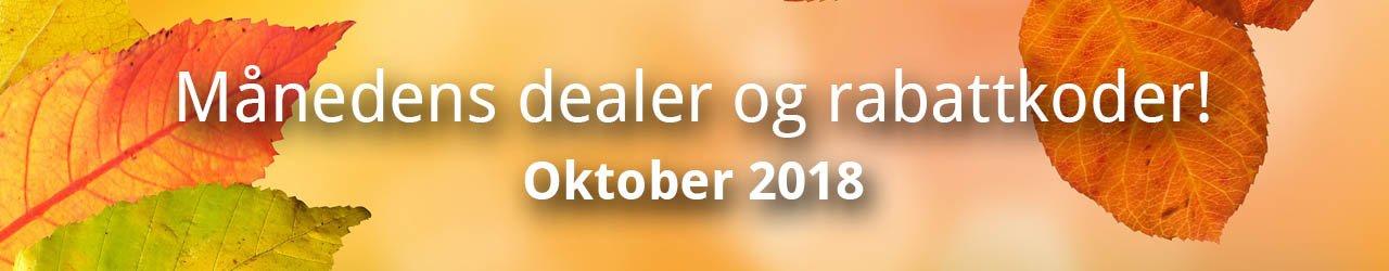 Månedens dealer og rabattkoder! - Oktober 2018