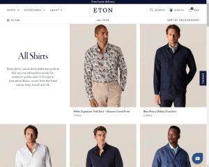 Skjermdump fra nettbutikken til Eton skjorter